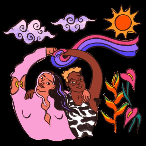 Ladies Holding Flag Illustration