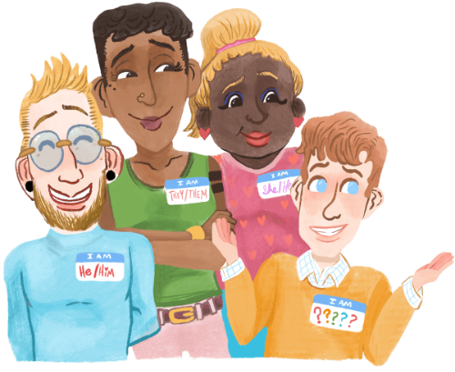 Group of People with Pronoun Labels