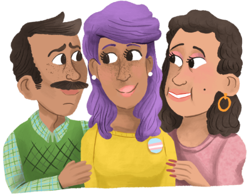 Trans Young Person Being Hugged by Parents