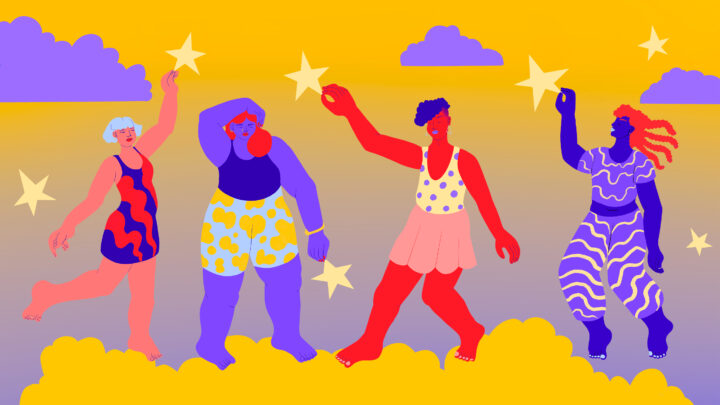 Illustration of LGBTQ young people dancing on clouds and plucking stars out of the sky.