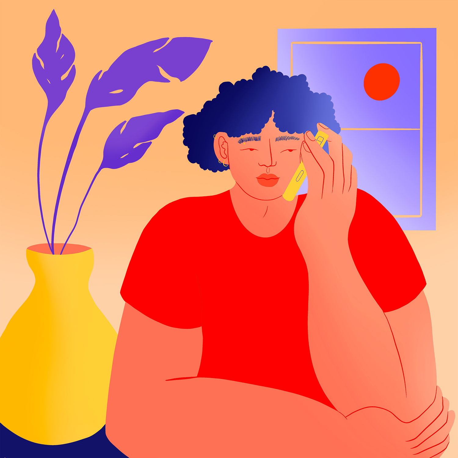 Bright illustration of a young person listening on the phone and looking hopeful