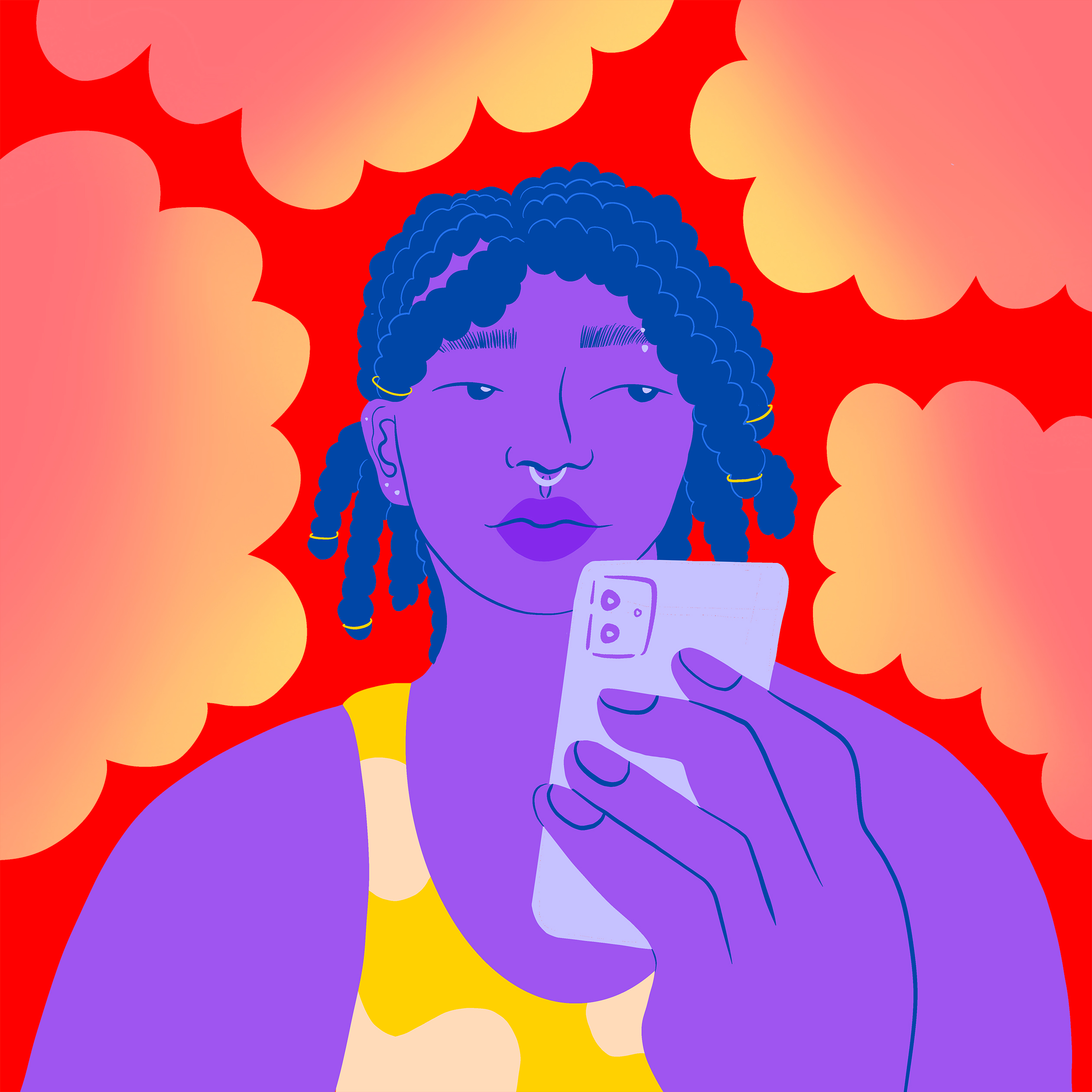 Illustration of a young person holding their phone, surrounded by calm, bright shapes similar to thought bubbles