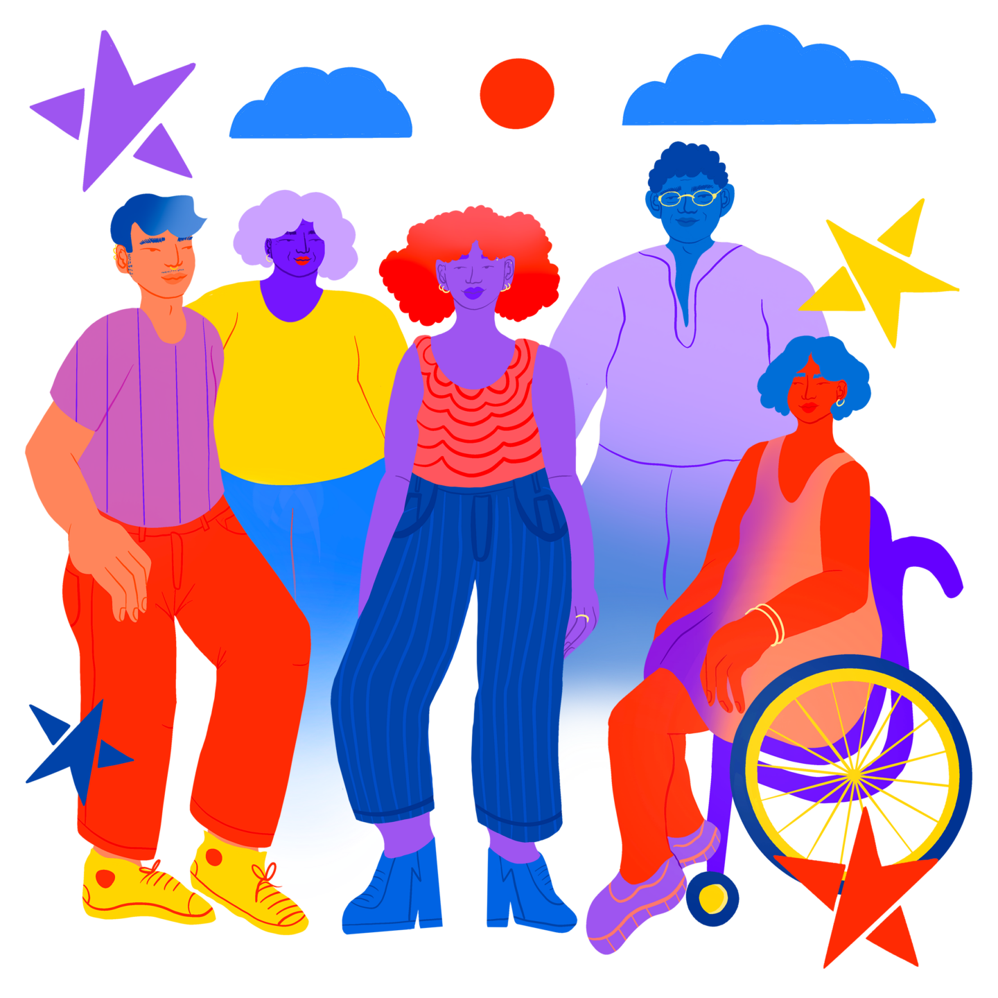 Group of LGBTQ young people surrounded by compass stars and clouds