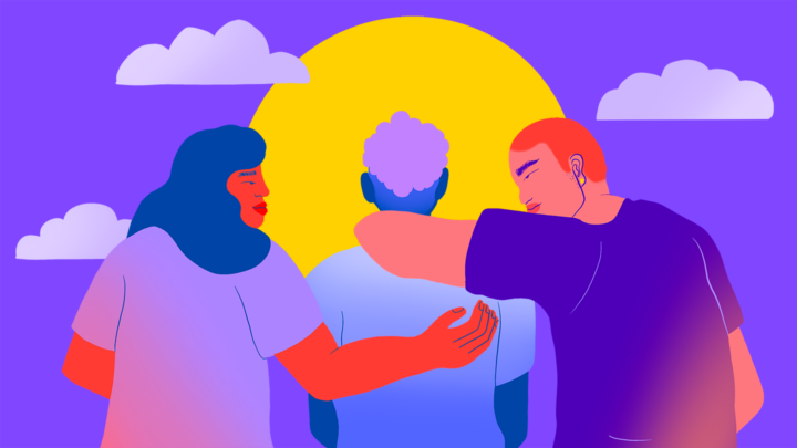 3 LGBTQ youth embracing facing the sky with sun and clouds