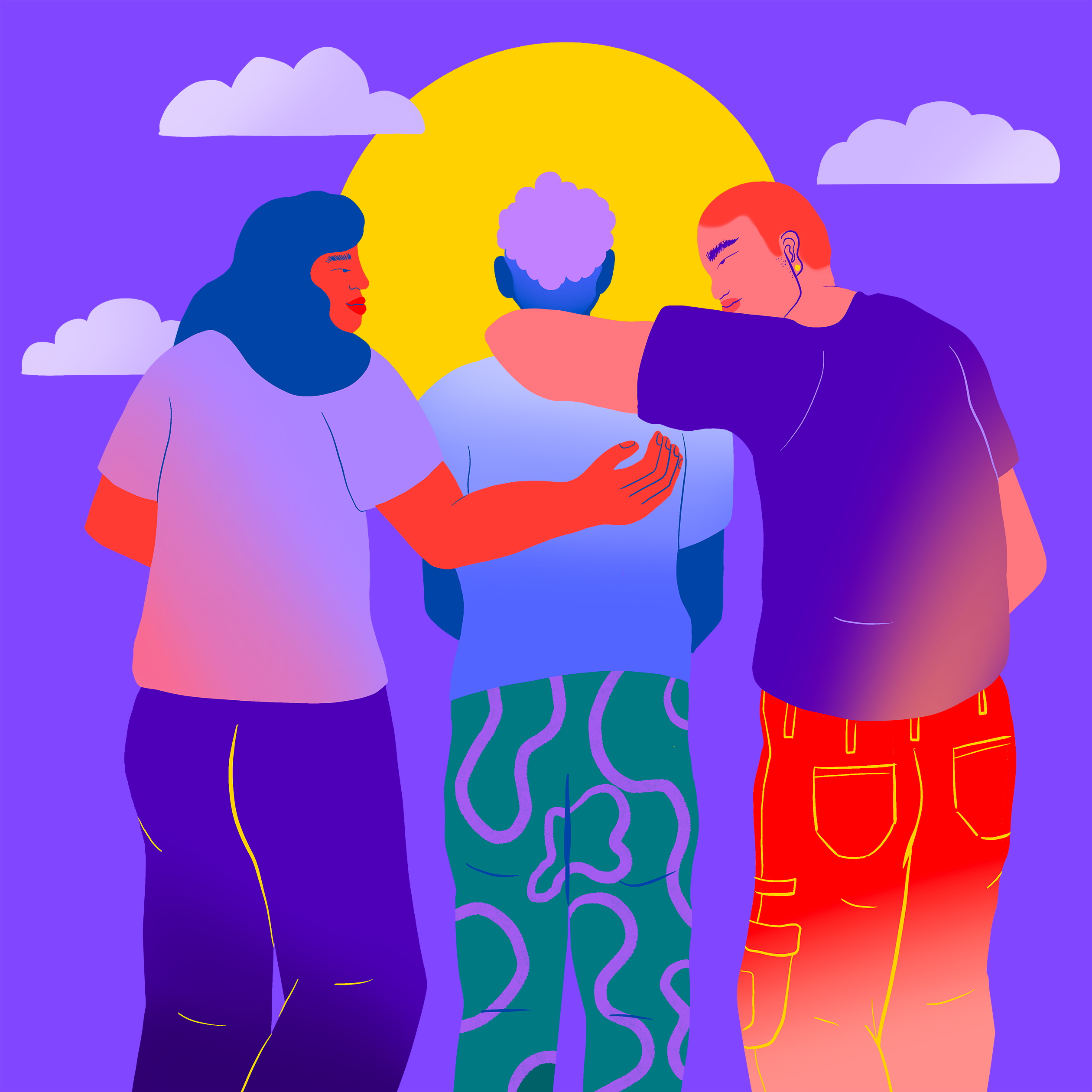 Illustration of three people standing together, two with their arms around person in the middle, smiling at them